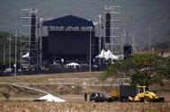 Escenario del concierto programado para mañana en Cúcuta, en la frontera entre Colombia y Venezuela.