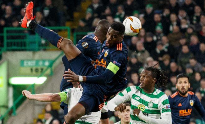 Kondogbia, en una jugada del partido de ida en Celtic Park en el que vio la amarilla.