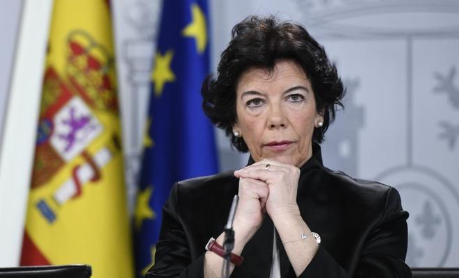 Isabel Celaá, ministra portavoz del Gobierno, en rueda de prensa tras...