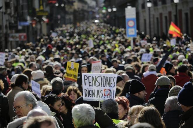 Manifestación de pensionistas el pasado 2 de febrero en Madrid