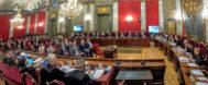 Vista general de una sesión del juicio por el 1-O en el Salón de Plenos del Supremo.
