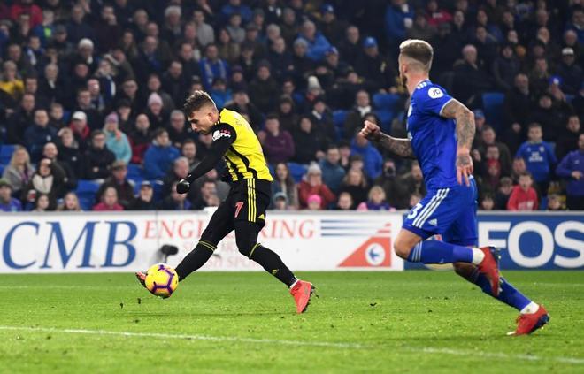 Deulofeu, en la jugada de uno de sus tres goles en Cardiff.