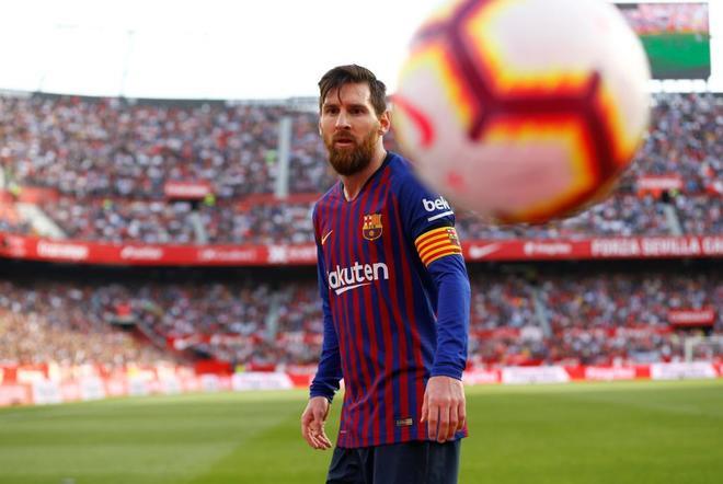 Messi, durante el partido en Sevilla.