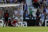 Martin Braithwaite (d) celebra el gol del empate ante el Valencia.