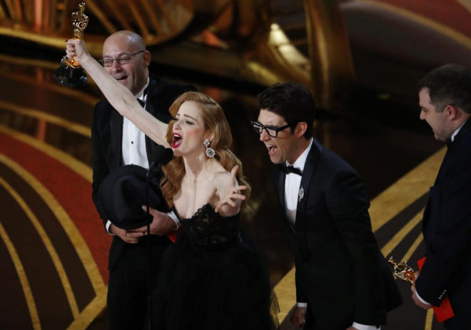 91st Academy Awards - Oscars Show - Hollywood, Los Angeles, California, U.S., February 24, 2019. Guy Nattiv and Jaime Ray Newman accept the Best Live Action Short Film award for