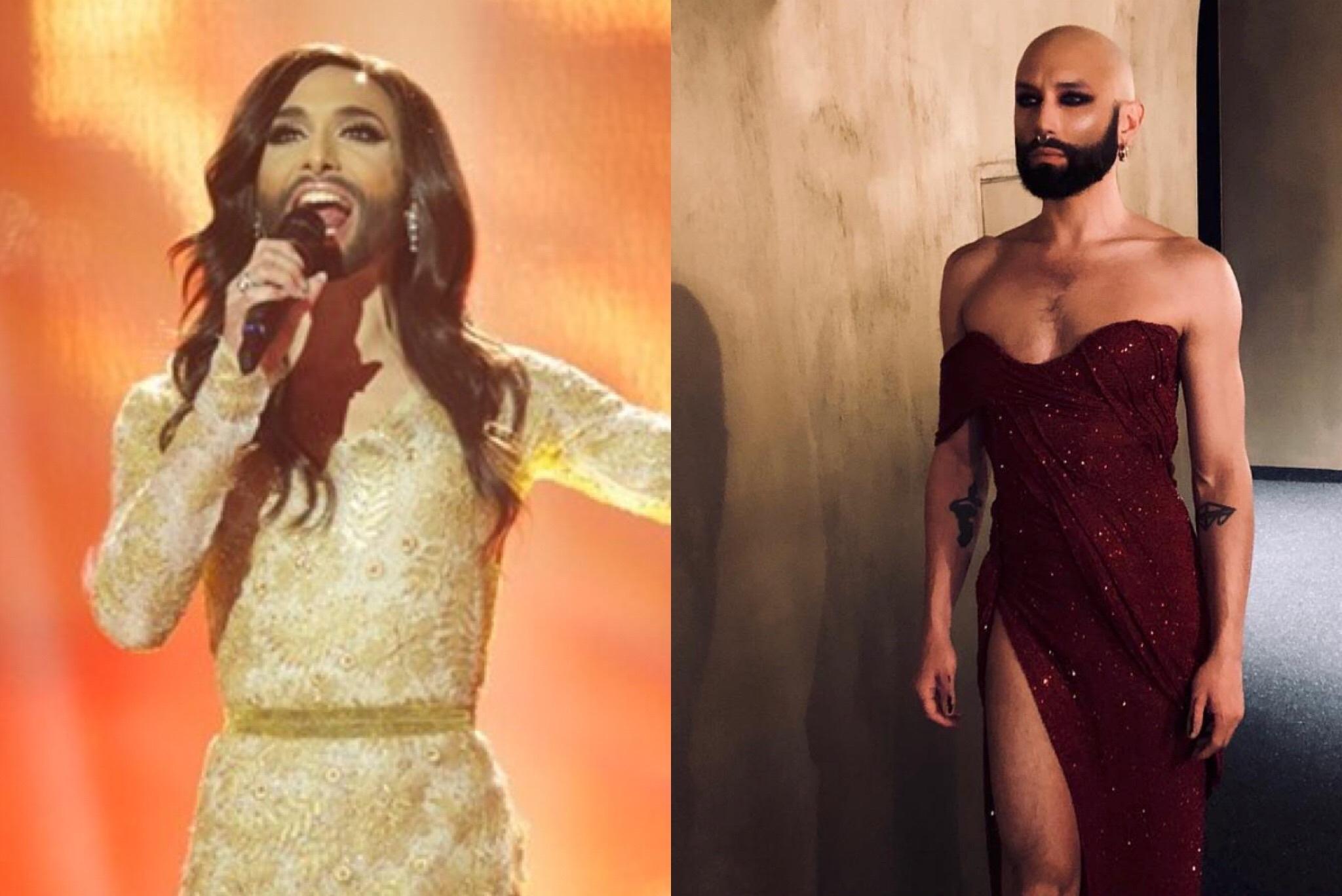 Conchita Wurst en su actuación de Eurovision 2014 y en una publicación de Instagram de febrero de 2019