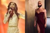 Conchita Wurst en su actuación de Eurovision 2014 y en una...