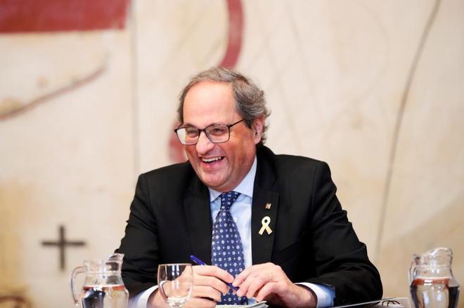 El presidente de la Generalitat, Quim <HIT>Torra</HIT>, durante la reunión del Govern