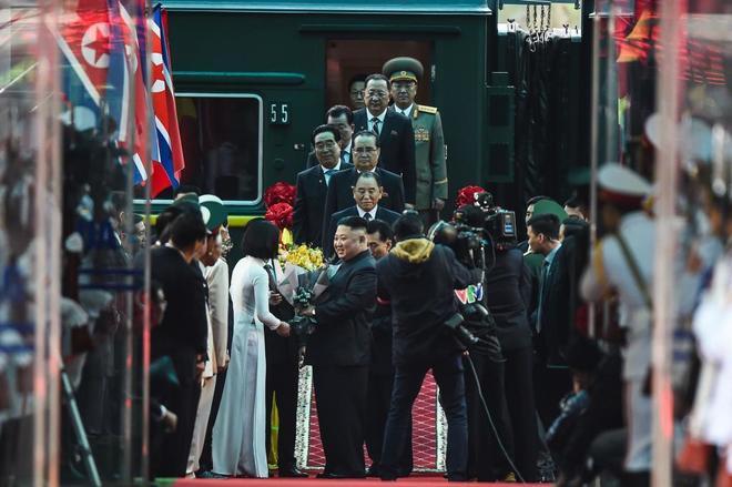 Kim Jong-un llega a la estación de trenes de Dong Dang.