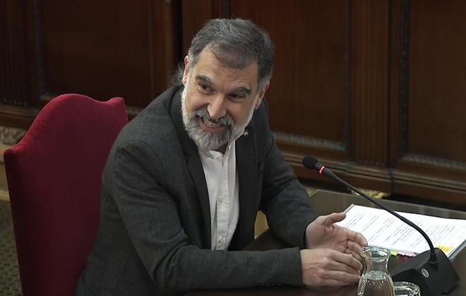 El presidente de Òmnium Cultural, Jordi Cuixart, durante su declaración ante el Tribunal Supremo.
