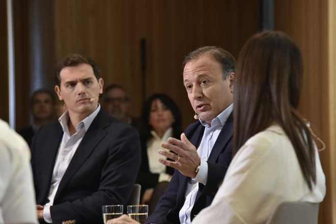 Albert Rivera y Joan Mesquida, durante el acto de presentación.
