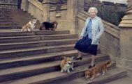 Isabel II en la fotografía oficial de su 90 cumpleaños, posando con sus corgis