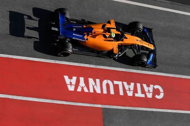 Lando Norris, durante la sesión de este martes en el Circuito de Catalunya.