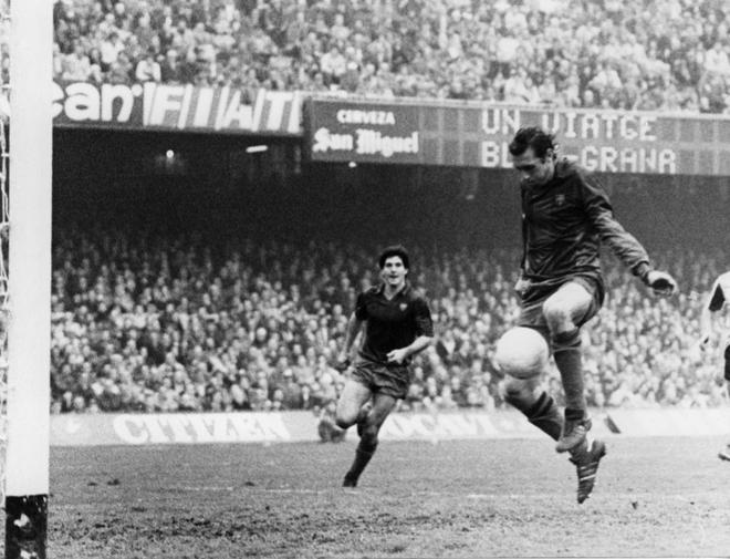 Quini, durante un partido con el Barcelona en marzo de 1981.