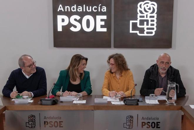 La ex presidenta de la Junta, Susana Díaz, reunida con la secretaria regional de CCOO, Nuria López.