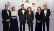 Carmen Reviriego (centro), impulsora de los Premios Callia, entre los matrimonios Masaveu (izqda.) y Brodsky.