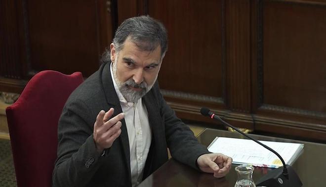 El presidente de Òmnium Cultural, Jordi Cuixart, durante su...
