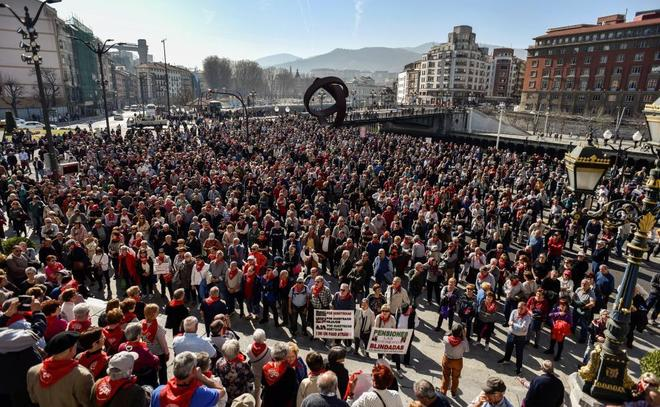 Manifestación celebrada el pasado sábado en Bilbao exigiendo unas pensiones dignas.