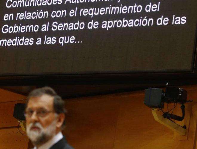 Mariano Rajoy, durante su intervención en el Senado para aplicar el artículo 155 en Cataluña, en octubre de 2017.