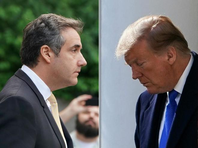 El ex abogado de Trump, Michael Cohen, y el presidente de EEUU.