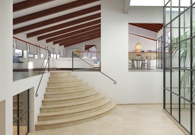 Interior del ático adquirido por Andy Kohlberg en el señorial Palau de Can Puig, en el edificio de viviendas más caro de Palma.