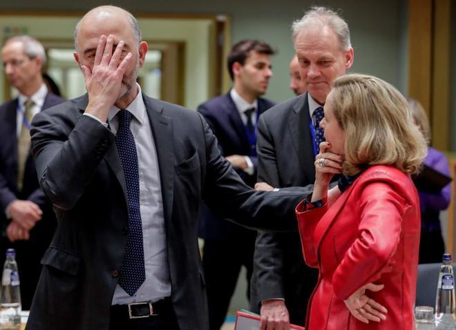 Pierre Moscovici y Nadia Calviño en Bruselas.