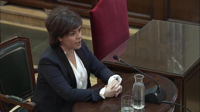 Soraya Sáenz de Santamaría, durante su declaración en el Tribunal Supremo.