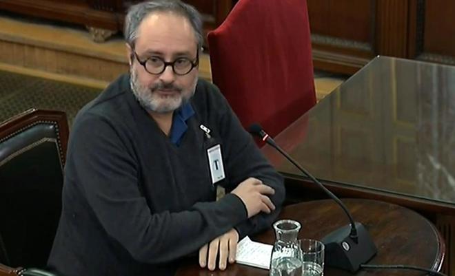 Antonio Baños, ex diputado de la CUP, en su paso por el juicio del 1-O.