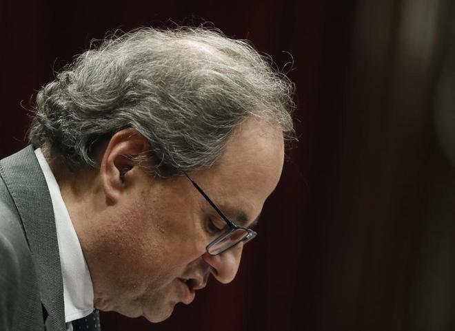 El presidente de la Generalitat, Quim Torra, durante su comparecencia ante el pleno del Parlament para dar cuenta de la propuesta del Govern sobre los Presupuestos.