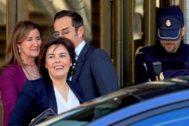 La ex vicepresidenta del Gobierno, Soraya Sáenz de Santamaría, tras declarar ayer en el Supremo.