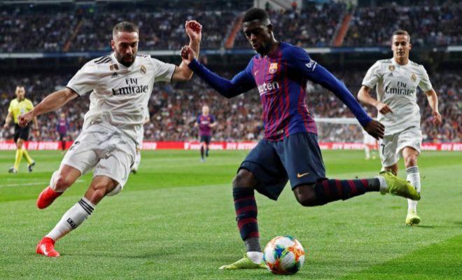Dembélé intenta quebrar a Carvajal el miércoles en el Bernabéu.
