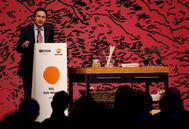 El consejero delegado de Repsol, Josu Jon Imaz, interviene en la gala de entrega de los nuevos soles de la Guía Repsol 2019, este lunes en San Sebastián.