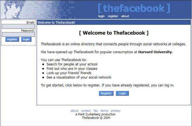 Primera 'home' de la red social, entonces llamada 'Thefacebook', y firmada por el propio Zuckerberg.