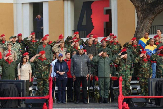 Nicolás Maduro, durante un acto de Gobierno con militares en enero, en Maracay.