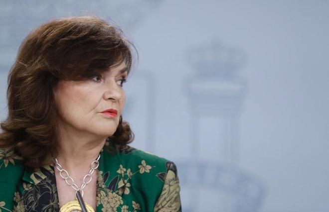 La vicepresidenta del Gobierno, Carmen Calvo, comparece en Consejo de Ministros.
