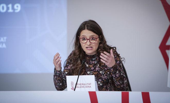 La vicepresidenta Mónica Oltra, en la rueda de prensa tras el pleno del Consell.