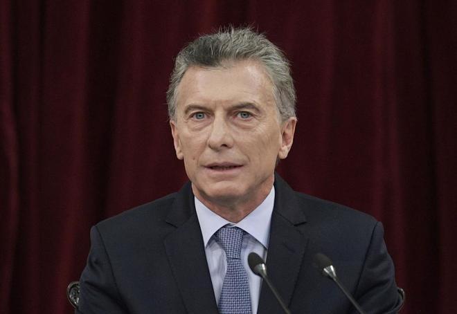 El presidente argentino, Mauricio Macri, durante su discurso de hoy.