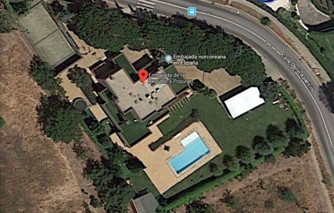 Vista aérea de la Embajada de Corea del Norte en Aravaca, Madrid.