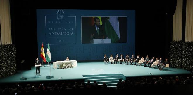 El presidente de la Junta, Juanma Moreno, durante su discurso del 28F.