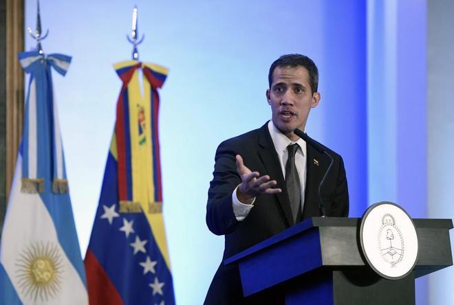 Juan Guaidó durante su conferencia de prensa en Buenos Aires.