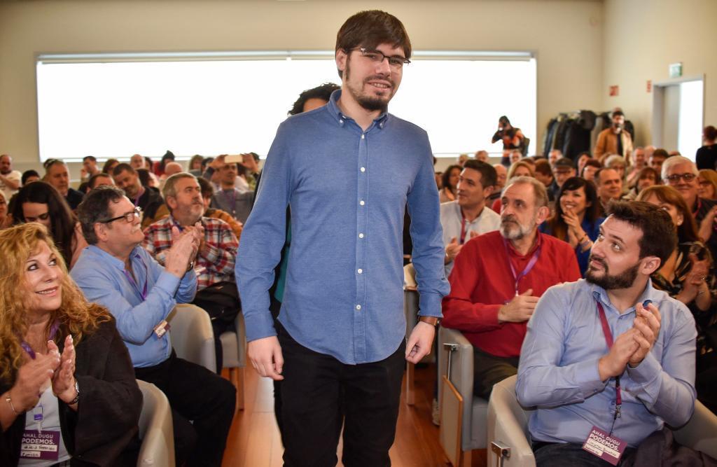 Lander Martínez en la asamblea municipalista de Podemos Euskadi.
