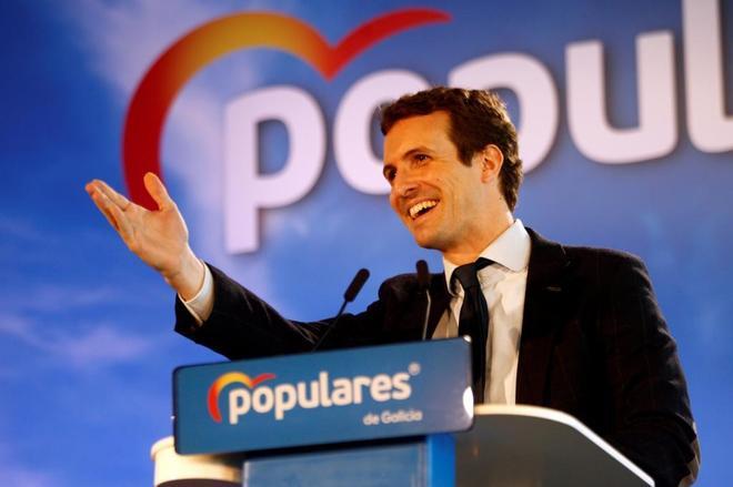 El presidente del PP, Pablo Casado, durante un acto en Ferrol