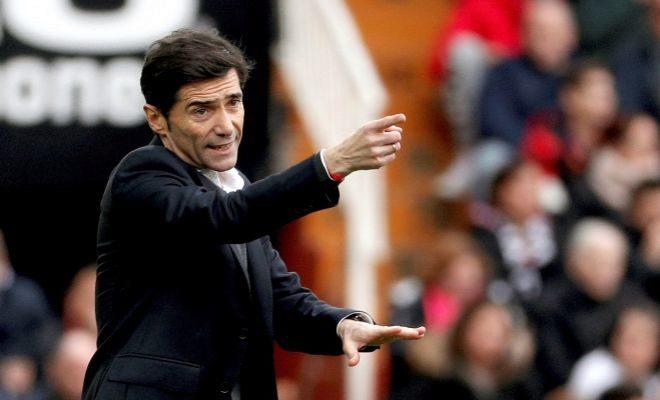 Marcelino da instrucciones durante un partido de Liga.