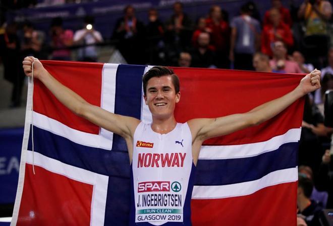 Jakob Ingebrigtsen, tras ganar los 3.000 metros en Glasgow.