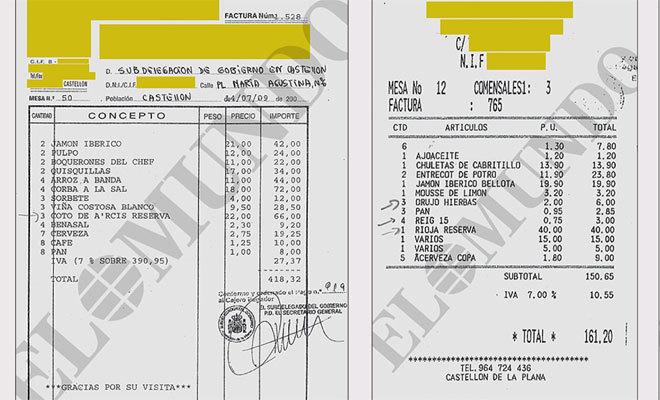 Algunos de los gastos de protocolo investigados por la Fiscalía.