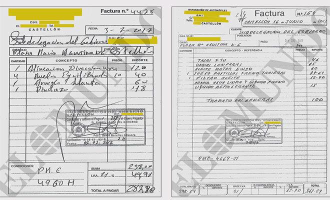 Dos facturas de talleras: a la izquierda una falsa y a la derecha una que corresponde a una verdadera reparación.