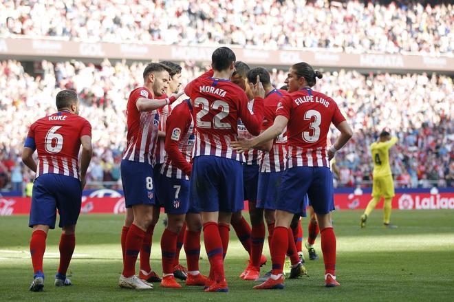 Morata y Filipe celebran el gol contra el Villarreal.