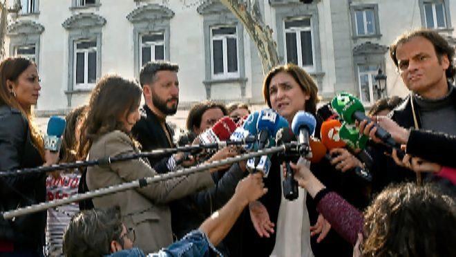 La alcaldesa de Barcelona, Ada Colau, a su salida del juicio del procés.