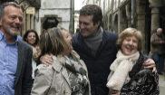 El presidente del PP, Pablo Casado, durante su paseo por las calles de Santiago