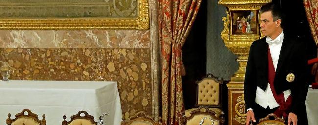 El presidente del Gobierno, Pedro Sánchez, durante la cena de gala...